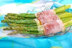 Green asparagus with ham mozzarella Stock Photo