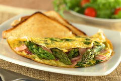 Green Asparagus and Ham Omelette Royalty Free Stock Image
