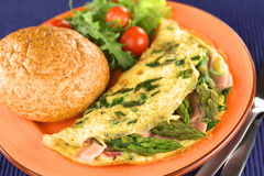 Green Asparagus and Ham Omelette Stock Images