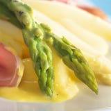 Green Asparagus with Hollandaise Sauce Stock Photos
