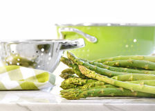 Green asparagus on marble table Stock Image
