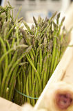 Green asparagus on a market stall Royalty Free Stock Photo