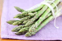Green asparagus on napkin Royalty Free Stock Photography