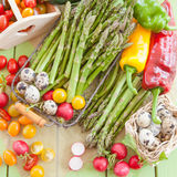 Green asparagus and other fresh vegetables Stock Image