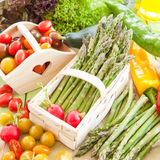 Green asparagus and other fresh vegetables Royalty Free Stock Photo
