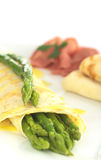 Green Asparagus with Pancake Royalty Free Stock Images