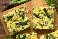 Green Asparagus, Pea and Blue Cheese Frittata Royalty Free Stock Images