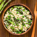 Green Asparagus, Pea and Brown Rice Risotto Stock Image