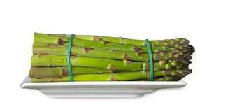 Green asparagus on a plate Royalty Free Stock Photo