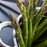 Green asparagus in the pot Royalty Free Stock Photo