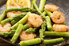 Green Asparagus with Prawns Stock Photography