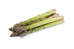 Green asparagus shoots isolated on white Royalty Free Stock Images