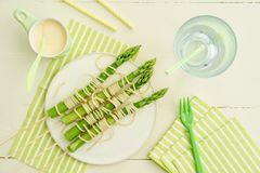 Green asparagus skewers with spaghetti Royalty Free Stock Photography