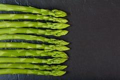 Green Asparagus on Slate Stock Photography