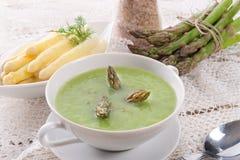 Green asparagus soup Stock Photos