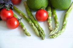 Green asparagus with tomatoes Stock Photography