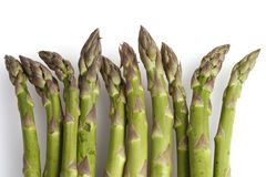 Green asparagus on white Royalty Free Stock Images