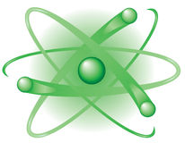 Green Atom. A green atom with large nucleus and three electrons circling on paths suitable for representing nuclear energy Royalty Free Stock Photography