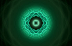 Green atom. Atom fractal in green tones over black Stock Illustration