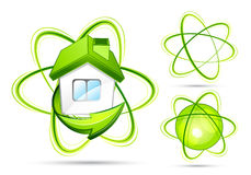 Green atomic illustrations Royalty Free Stock Images