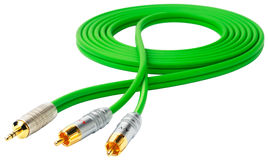 Green audio cable Stock Photos
