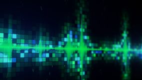 Green audio equalizer on screen with DOF. Green audio equalizer on screen. Abstract technology concept. Computer generated image rendered with DOF Royalty Free Stock Photo