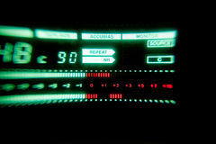 Green audio level meter of tape recorder Royalty Free Stock Images