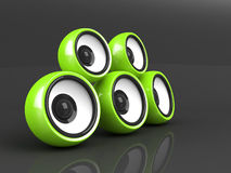 Green audio system on the grey Stock Photo