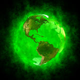 Green aura of Earth - America. 3D illustration of planet Earth with green aura on black background. Theme of spirituality, creation of the world, transformation stock illustration