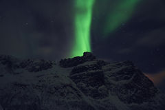 Green Aurora Borealis Above Snow Covered Mountain Royalty Free Stock Photography