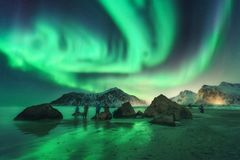Green aurora borealis and people. Northern lights royalty free stock images