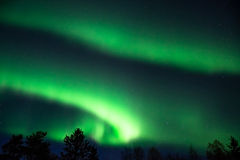 Green aurora borealis  on a starry sky Royalty Free Stock Images