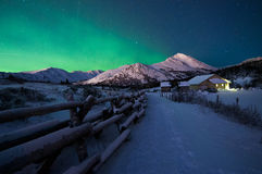 Green Aurora Over The Ranger Station Royalty Free Stock Photography