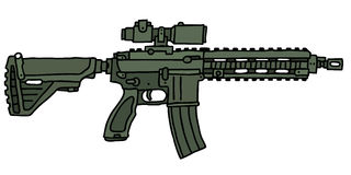 Green automatic gun. Hand drawn vector illustration Royalty Free Illustration
