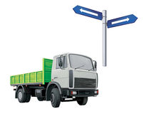 Green Autotruck, Lorry, road sign Stock Image