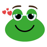 Green avatar frog and heart icon, graphic Royalty Free Stock Photography