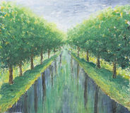 Green avenue of trees, park. Original oil painting green avenue of trees, park on canvas. Impasto artwork. Impressionism art Royalty Free Stock Photography