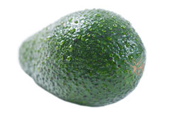 Green Avocado. Whith Watre Drops Isolated on a white background closeup royalty free stock photos