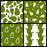 Green Avocado Seamless Patterns Set Royalty Free Stock Photo
