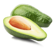 Green avocados isolated on the white background Stock Image