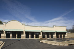 Green awning commerical strip mall Royalty Free Stock Photos