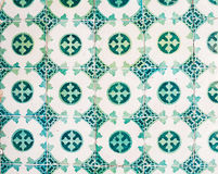 Green azulejos, old tiles in the Old Town of Lisbon, Portugal Stock Photography