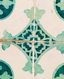 Green azulejos, old tiles in the Old Town of Lisbon, Portugal Stock Photo