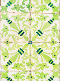 Green azulejos, old tiles in the Old Town of Lisbon, Portugal Royalty Free Stock Photos