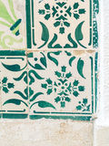 Green azulejos, old tiles in the Old Town of Lisbon, Portugal Royalty Free Stock Images