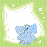 Green baby book page. Green illustration with artistic butterflies and hearts and a blue elephant, suitable for a baby book page Royalty Free Stock Image