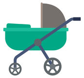 Green baby carriage. Royalty Free Stock Photos