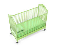 Green baby cot isolated on white background. 3d rendering.  Stock Photo