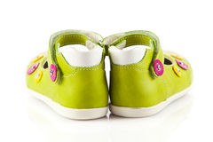 Green baby shoes. Stock Images
