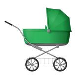 Green baby stroller - cradle for baby, with a raised awning, side view Royalty Free Stock Photo